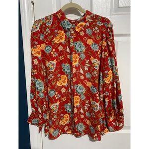Loft petite floral long sleeve blouse